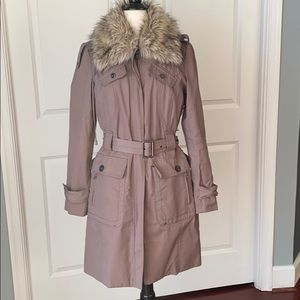 Kenneth Cole New York Taupe Lined Trench Coat